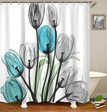 livilan shower curtain set with 12 hooks fl bath curtain thick fabric bathroom curtains home decorations for bathroom white blue grey tulip flower