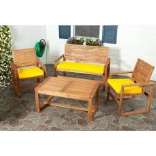 Image Yacht Ozark 4piece Patio Seating Set With Yellow Cushions The Home Depot Yellow Patio Conversation Sets Outdoor Lounge Furniture The