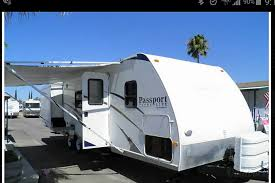 2008 keystone passport hanford ca outside of trailer with the awning extended