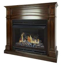 full size ventless propane gas fireplace in cherry
