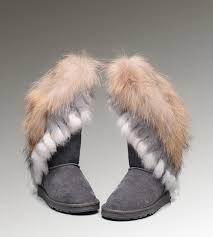 UGG Fox Fur Tall Boots 8688 Grey Popular Clearance ...