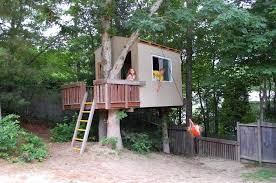 Easy kids tree houses Low Budget Treehouse Ortodonzialingualeinfo Treehouse Building Kit The Book Kits Home Depot Platform Plans
