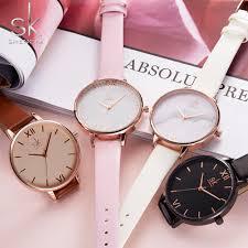 shengke top brand fashion las watches leather female quartz watch women thin casual strap watch reloj mujer marble dial sk