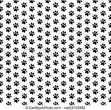 かわいい 動物パターン 足跡 壁紙 Seamless 黒い背景 白