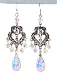 clear ab chandelier earrings pear silver prom pageant