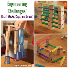 Game With Wooden Sticks 100 Engineering Challenges for Kids Cups Craft Sticks and Cubes 99