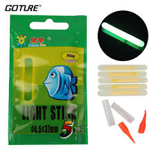 Goture Fishing Light Us 9 99 40 Off Goture 100 Piece 20packs Chemical Fishing Light Fishing Rod Tip Bait Alarm Float Fish Bobber Glow Lightsticks Size 4 5 37mm In