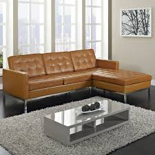 maximizing the use of curved sectional sofa. Furniture, Maximizing Small Living Room Spaces With 3 Piece Brown Leather Tufted Sectional Sofa Stainless Steel Legs And Glass Top Low Coffee Table The Use Of Curved S