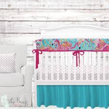 lilly flamingo blue pink orange baby girl crib bedding