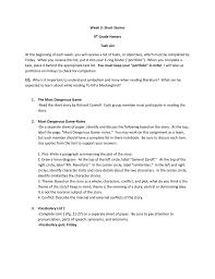 Week 3 Short Stories 9th Grade Honors Task List At The Beginning