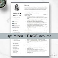 One Page Resume Templates Modern One Page Resume With Photo Cv Template With Photo Creative Resume Template For Word Pages Instant Digital Download Modern Cv Design