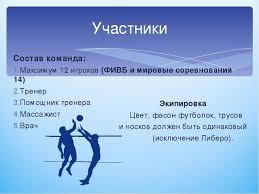 Презентация по физической культуре на тему Волейбол правила игры  Состав команда Максимум 12 игроков ФИВБ и мировые соревнования 14 Тренер