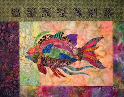 105 best Quilting, sea quilts images on Pinterest | Fish quilt ... & Tuscany Tile Fish raw edge applique and pieced wall quilt pattern Adamdwight.com