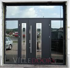 steel exterior doors in grey metallic commercial steel entry doors with glass