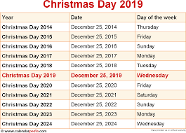 Calendar 2013 Through 2015 When Is Christmas Day 2019 2020 Dates Of Christmas Day