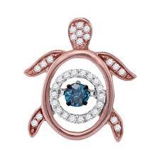10kt rose gold womens round blue color enhanced diamond turtle tortoise le moving pendant 1