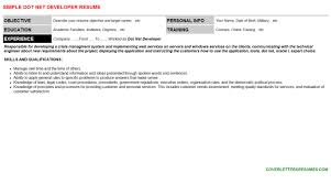 dot net developer resume sample dot net resume sample