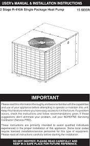 Nordyne Single Package Heat Pump R 410a Users Manual 709064