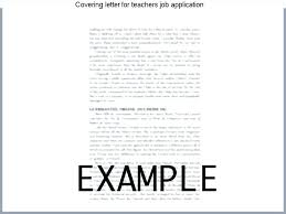 Application For Teaching Job Cover Letter For Applying Teacher Job Covering Letter Teaching
