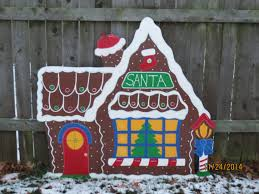 Homely Ideas Wooden Outdoor Christmas Decorations Santa S Gingerbread House  Wood Village Piece