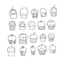無料で手書きのかわいいカップケーキ20個のベクターイラスト素材