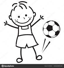 Jongen Voetbal Bal Vectorillustratie Pagina Kleurplaten