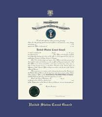 custom diploma frames certificate frames framing success uscg  united states coast guard academy commission certificate frame royal blue mat and gold embossing approximate frame size 17 x 23 inches