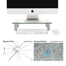 fitueyes clear computer monitor riser save space desktop stand for xbox one component flat