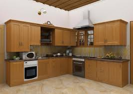 Modular Kitchen Wall Cabinets Inspiring Modular Kitchen Design Ideas With L Shape Brown Color