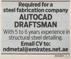 Autocad Draftsman Autocad Draftsman Required In Uae My Recent Jobs
