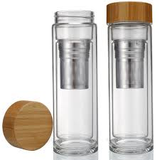 tea infuser glass bottle with bamboo lid