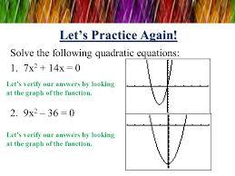 solve the following quadratic equations