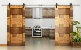 interior sliding barn door. The Exotic Mosaic Of These Doors Is In Wood, And Creating Using Varying Wood Interior Sliding Barn Door