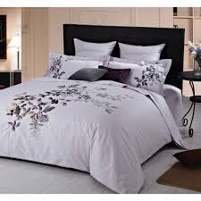 li rare orchids collection 200 thread count cotton percale duvet cover set queen purple