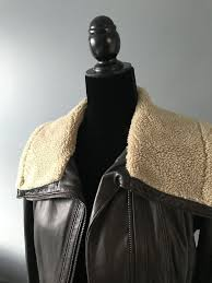 womens michael kors leather er jacket s brown faux shearling collar