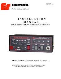 1 i n s t a l l a t i o n m a n u a l federal signal pages 1 11 on unitrol tm4 wiring diagram