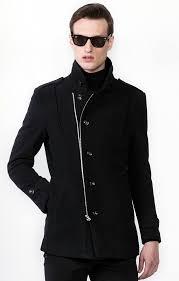 black wool slanted zip modern pea coat