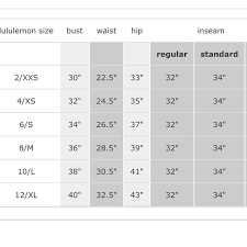 Nike Sports Bra Size Chart Lululemon Size Chart Lululemon Size Chart For Your Reference