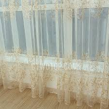 elegant gold and beige luxury embroidered fl sheer curtain