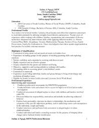 Professional Social Work Resume Example Cover Letter Social Worker