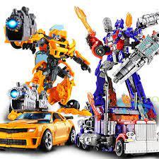 Đồ chơi combo 2 robot - ô tô lắp ráp biến hình transfomer 2 trong 1 kích  thước lớn 23cm