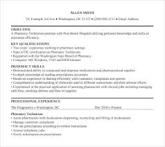 9 Sample Pharmacy Technician Resumes To Download Sample Templates