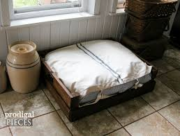grain sack ticking pet bed with diy plans and tutorial by prodigal pieces