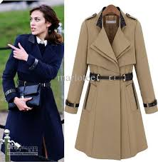 most fashion fit winter women clothes camel navy blue formal apparel warm cotton coats stand collar middle length clothing cloak camel coat winter