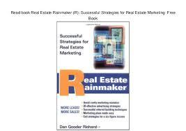 Real Estate Marketing Plan Fascinating Read Book Real Estate Rainmaker R Successful Strategies For Real E