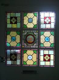 victorian stained glass nine panels
