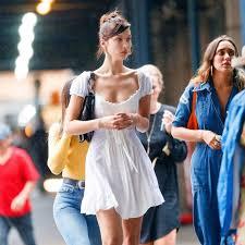 <b>2018 Summer Dress</b> bella hadid white Beach <b>dress</b> Slash Neck ...