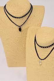necklace choker black 2 strand faux suede cord glass crystal teardrop pendant dz size