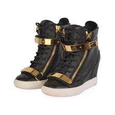 giuseppe zanotti leather high top wedge sneakers black
