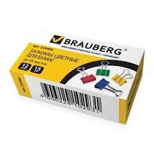 <b>Зажимы для</b> бумаг <b>BRAUBERG</b> комплект 12шт 15мм на 45л ...